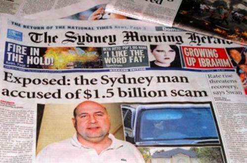 Front page story in the Sydney Morning Herald, June 2009