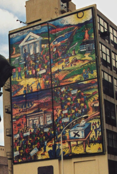 A mural in Cape Town depicting voting in South Africa in 1994