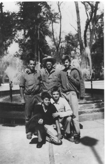 Jack Keroauc top left next to the poet Allen Ginsberg and firends in Mexico City