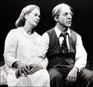 "Kate Reid and Dustin Hoffman in ""Death of a Salesman"""