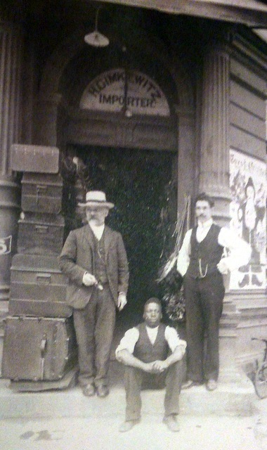Heinrich, top left, in front of his Johannesburg toy shop