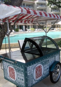An faux-Italian  ice-cream vendor on wheels, hotel Double Six