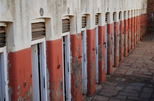 The old prison cells - home to Ghandi and Mandela at one point at Constitution Hill