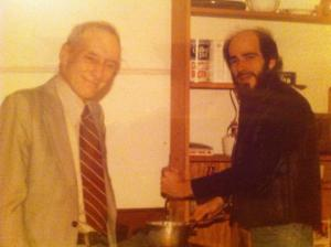 Stewart Meyer cooking a meal for Burroughs (from his Facebook page)