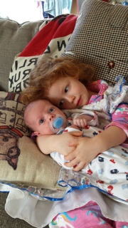 Aubin with her big sister Edie