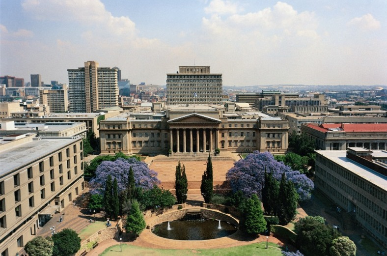 Wits University's east campus with the imposing Great Hall at the centre